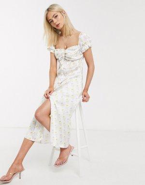 Пляжное платье миди кремового цвета с принтом Stefania Vaidani-Мульти Viadani