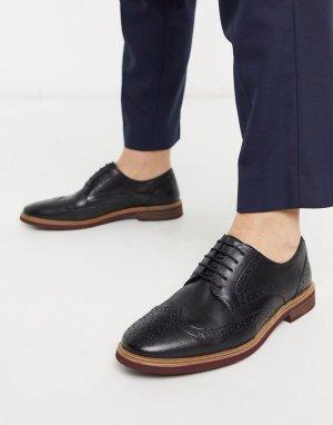Черные кожаные броги с контрастной подошвой -Черный ASOS DESIGN
