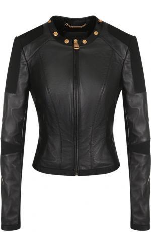 Кожаная куртка с декоративной отделкой Versace. Цвет: черный