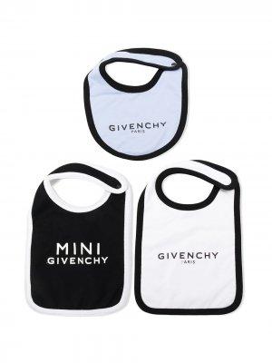 Комплект из трех нагрудников с логотипом Givenchy Kids. Цвет: синий
