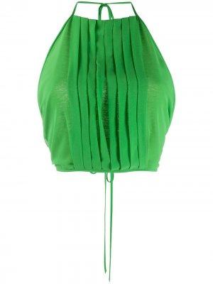 Укороченный топ с плиссировкой Irina Schrotter. Цвет: зеленый