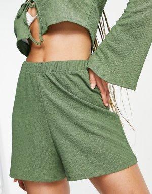 Пляжные шорты цвета хаки из фактурного трикотажа от комплекта -Зеленый цвет ASOS DESIGN