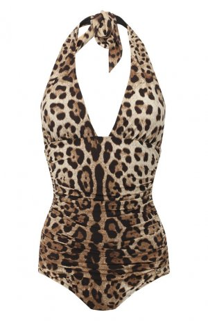 Слитный купальник Dolce & Gabbana. Цвет: коричневый