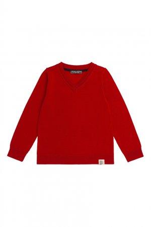 Ярко-красный пуловер Bonpoint. Цвет: красный