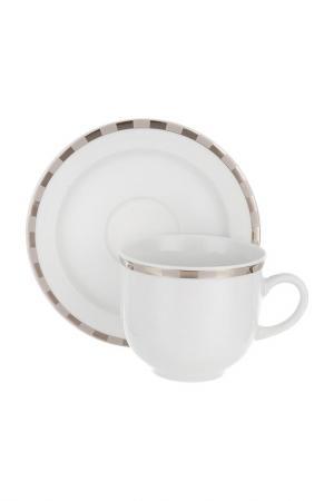 Чашка с блюдцем, 6 шт THUN. Цвет: белый