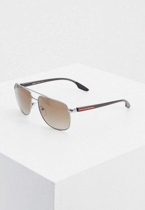 Очки солнцезащитные Prada Linea Rossa PS 55VS 5AV1X1. Цвет: серебряный