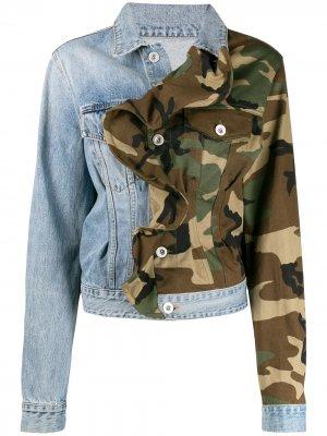 Джинсовая куртка со вставками и оборками UNRAVEL PROJECT. Цвет: синий