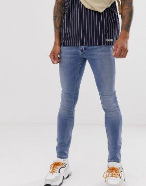 Голубые выбеленные зауженные джинсы из органического хлопка с напылением -Голубой Topman