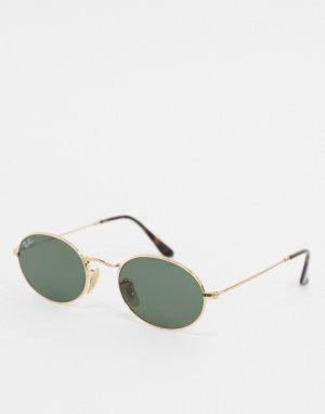 Золотистые солнцезащитные очки в овальной оправе Ray-ban ORB3547N-Золотой