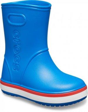 Резиновые сапоги детские CROCS Kids' Crocband™ Rain Boot Bright Cobalt/Flame арт. 205827. Цвет: bright cobalt/flame