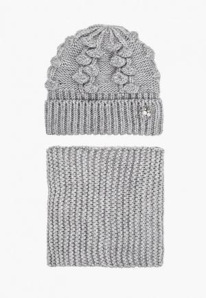 Комплект TrendyAngel шапка, брошь и шарф 30х160 см. Цвет: серый