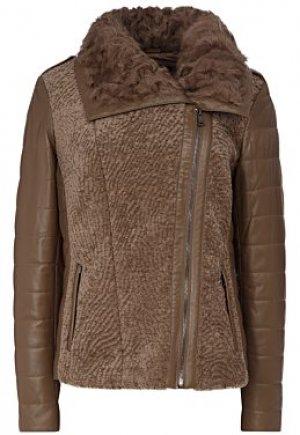 Утепленная кожаная куртка с отделкой Vericci