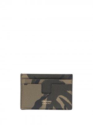 Картхолдер с камуфляжным принтом и логотипом TOM FORD. Цвет: зеленый