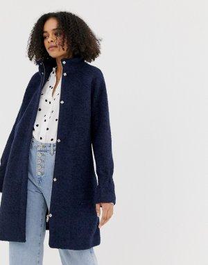 Свободное шерстяное пальто -Темно-синий Minimum