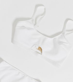 Белый бикини-топ для груди большого размера с вырезом Wolf & Whistle