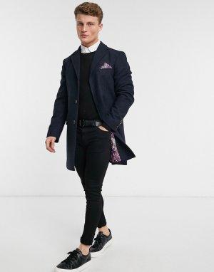 Пальто темно-синего цвета с добавлением шерсти -Темно-синий Harry Brown