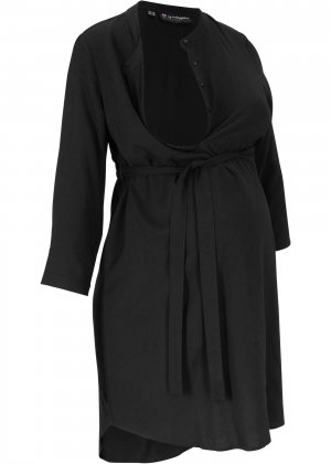 Платье-рубашка для беременных и кормящих мам bonprix. Цвет: черный