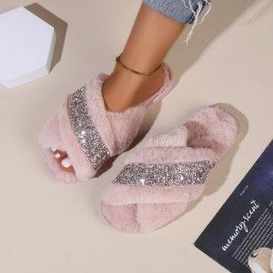 Плюшевые тапочки с блестками SHEIN. Цвет: розовые