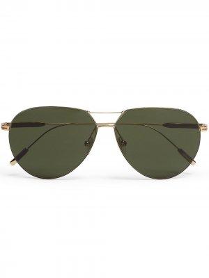 Солнцезащитные очки-авиаторы Leggerissimo Ermenegildo Zegna. Цвет: золотистый
