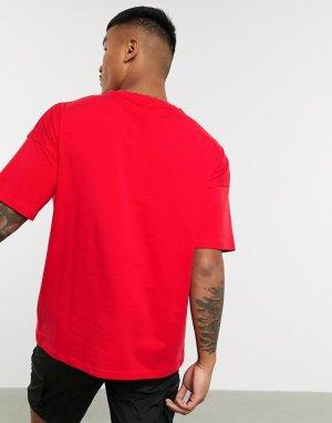 Красная футболка со вставками и логотипом -Красный Hummel
