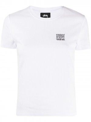 Embroidered logo ribbed T-Shirt Stussy. Цвет: белый