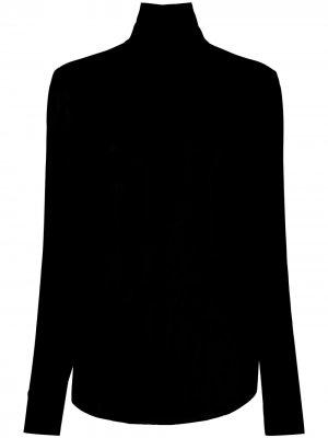 Блузка с высоким воротником и вырезом на спине Rochas. Цвет: черный