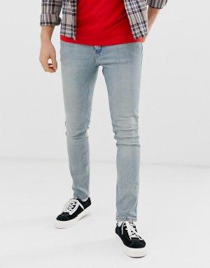 Голубые зауженные джинсы из стираного денима -Синий Cheap Monday