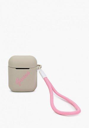Чехол для наушников Guess Airpods, Silicone case Script logo with cord Grey/Pink. Цвет: серый