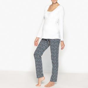 Пижама для беременности и периода грудного вскармливания LA REDOUTE MATERNITE. Цвет: белый/разноцветный рисунок