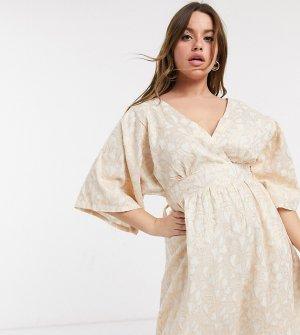 Белое жаккардовое платье миди в стиле кимоно Plus-Белый Elvi