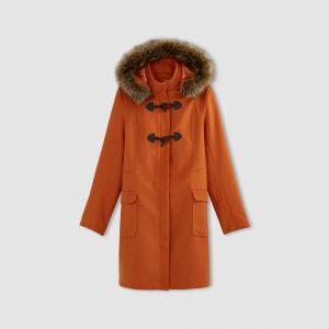Короткое пальто с капюшоном LA REDOUTE COLLECTIONS. Цвет: бордовый