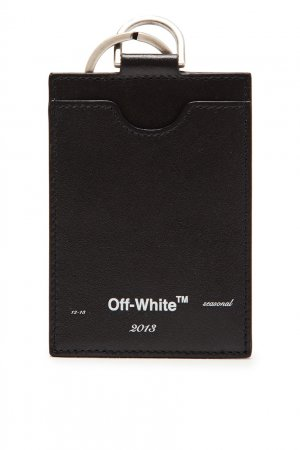 Черная визитница с ремешком Off-white. Цвет: черный