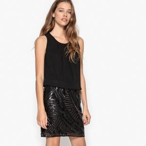Платье однотонное прямого и короткого покроя без рукавов VERO MODA. Цвет: черный/ черный