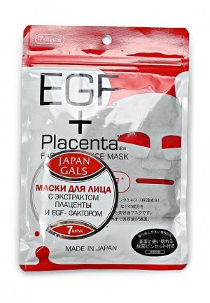 Набор масок для лица Japan Gals Маска с плацентой и EGF фактором Facial Essence Mask 7 шт. Цвет: белый