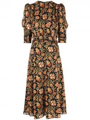 Платье миди с пышными рукавами и цветочным принтом Derek Lam. Цвет: черный
