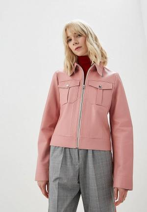 Куртка кожаная Calvin Klein. Цвет: розовый