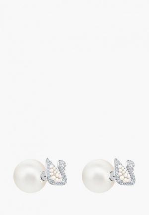 Серьги Swarovski® ICONIC SWAN. Цвет: белый