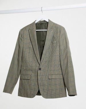 Коричневый приталенный пиджак в клетку -Коричневый цвет River Island