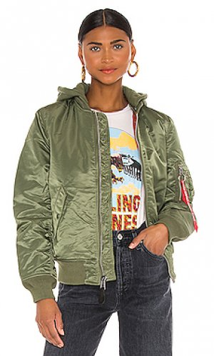 Куртка бомбер ma-1 ALPHA INDUSTRIES. Цвет: оливковый