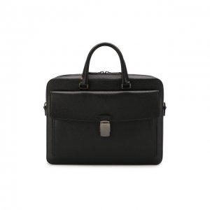 Кожаная сумка для ноутбука Gherman Bally. Цвет: чёрный