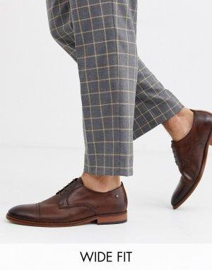 Коричневые кожаные туфли для широкой стопы Trailer-Коричневый Base London
