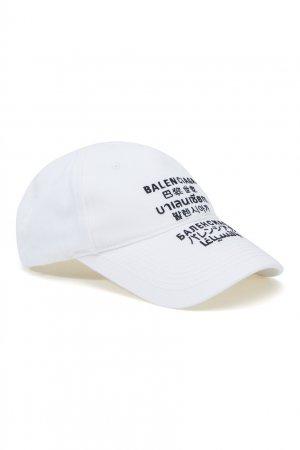 Белая кепка с вышивкой Languages Balenciaga. Цвет: белый
