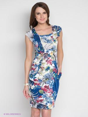 Платье DRS Deerose. Цвет: белый, синий