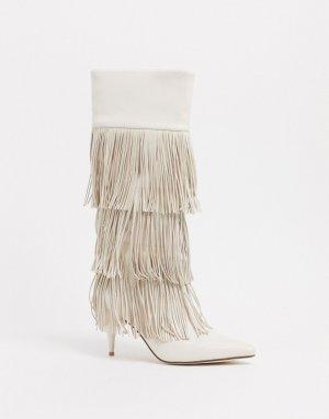 Белые полусапожки на каблуке с бахромой -Белый Jeffrey Campbell