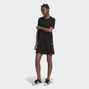 Платье-футболка Adicolor 3D Trefoil Originals adidas. Цвет: черный