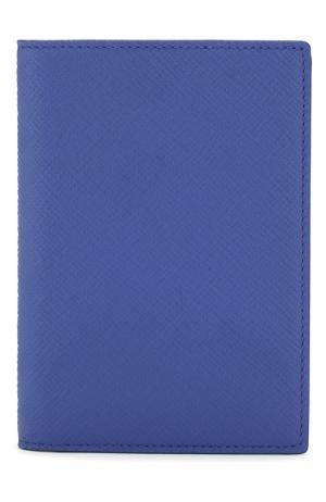 Кожаная обложка для паспорта Panama Smythson. Цвет: синий