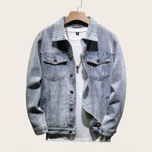 Мужская джинсовая куртка с карманом SHEIN. Цвет: синий
