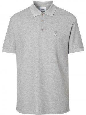 Рубашка-поло из ткани пике с монограммой Burberry. Цвет: серый