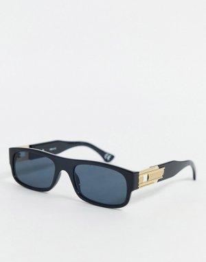 Черные солнцезащитные очки в прямоугольной оправе -Черный ASOS DESIGN