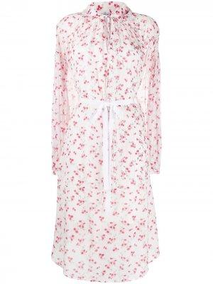 Платье с цветочным принтом LOEWE. Цвет: белый